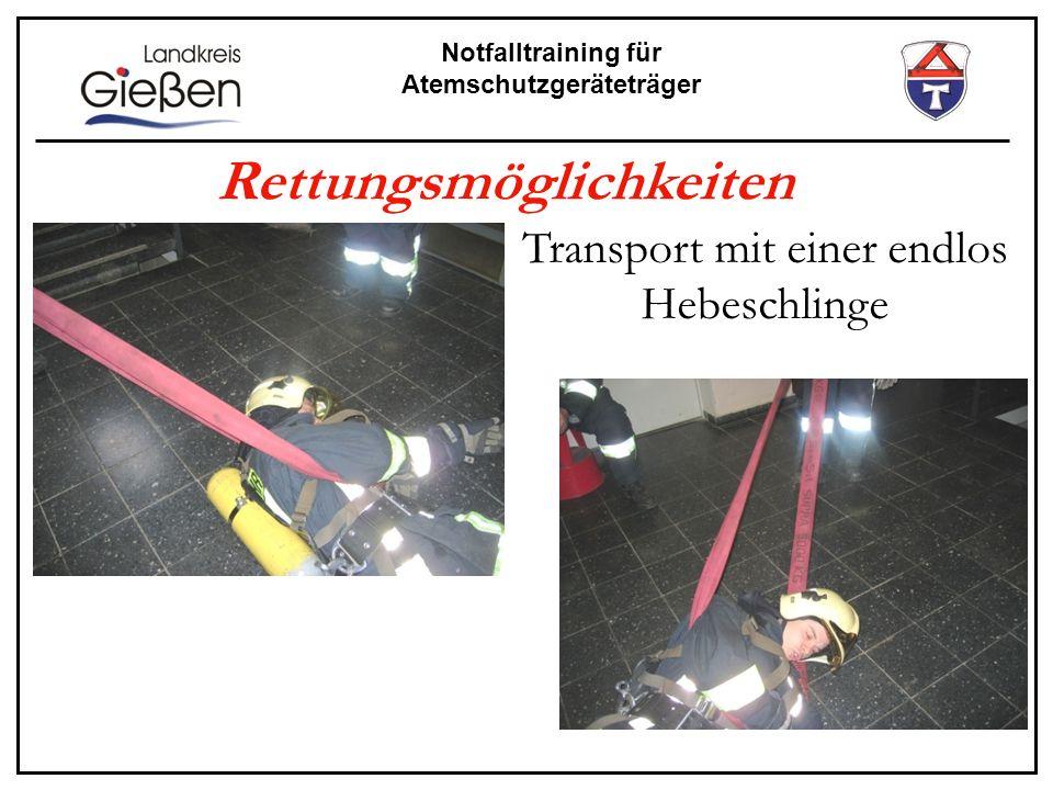 Notfalltraining für Atemschutzgeräteträger Rettungsmöglichkeiten Transport mit einer endlos Hebeschlinge