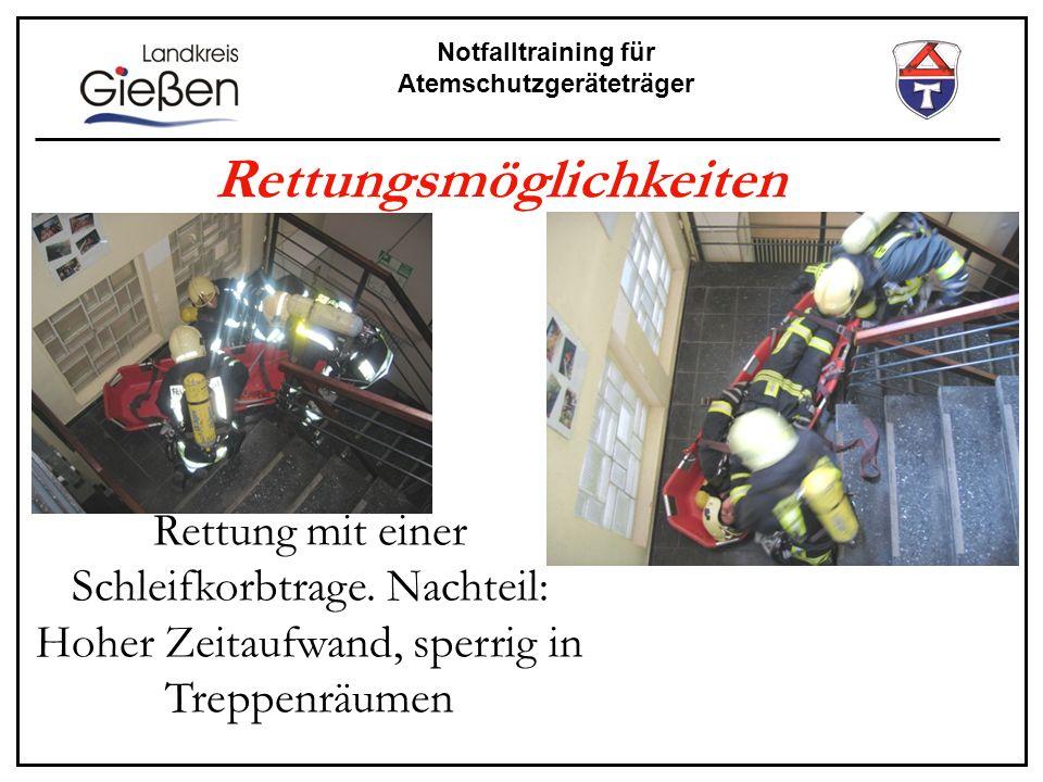 Notfalltraining für Atemschutzgeräteträger Rettungsmöglichkeiten Rettung mit einer Schleifkorbtrage. Nachteil: Hoher Zeitaufwand, sperrig in Treppenrä