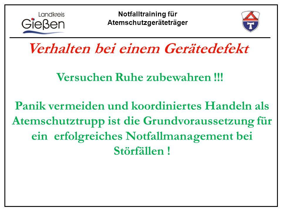 Notfalltraining für Atemschutzgeräteträger Ausrüstung des Sicherheitstrupps Zusätzlich Rettugs-/Fluchthaube Rettugstuch Ggf.