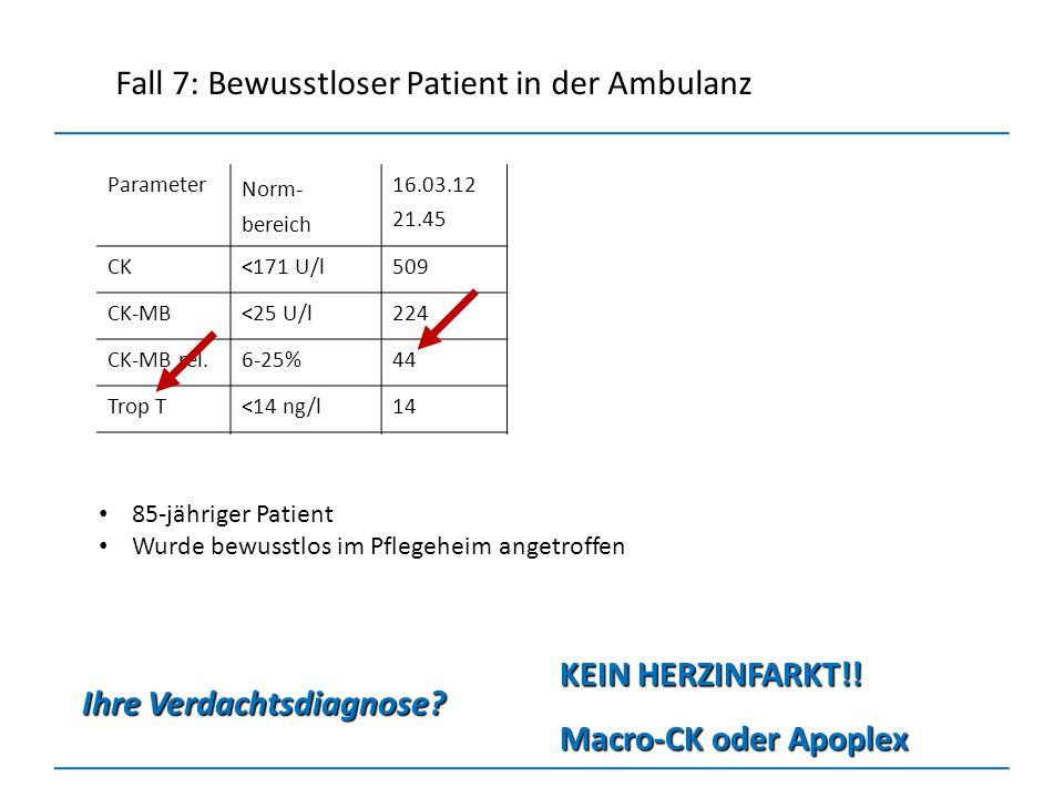 Parameter Norm- bereich 16.03.12 21.45 CK<171 U/l509 CK-MB<25 U/l224 CK-MB rel.6-25%44 Trop T<14 ng/l14 Non-CK-M112 Ihre Verdachtsdiagnose? KEIN HERZI