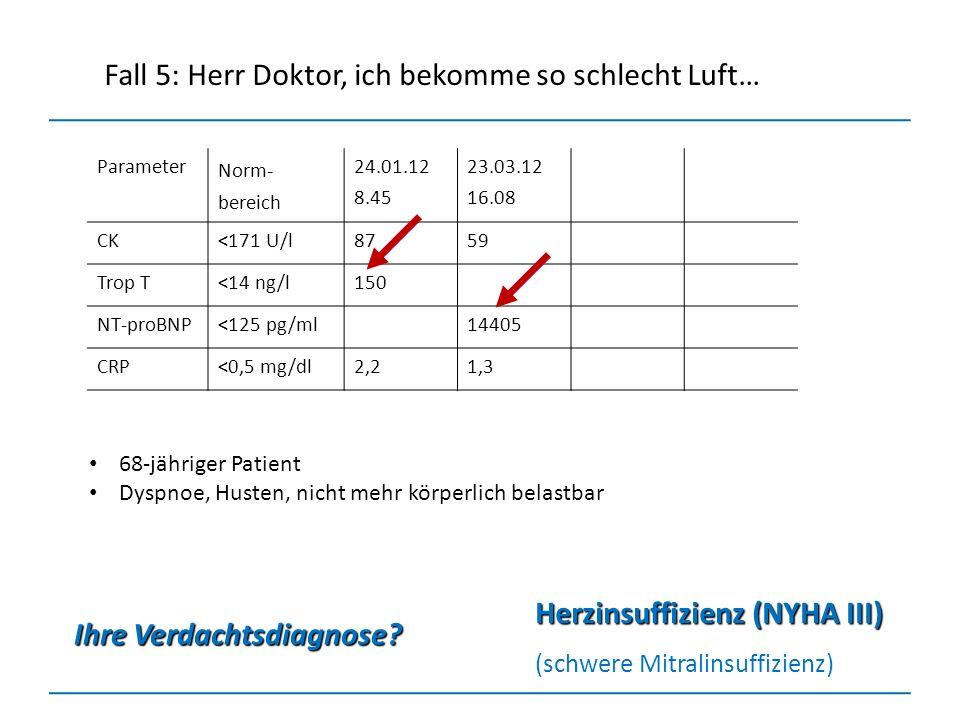 Parameter Norm- bereich 24.01.12 8.45 23.03.12 16.08 CK<171 U/l8759 Trop T<14 ng/l150 NT-proBNP<125 pg/ml14405 CRP<0,5 mg/dl2,21,3 Ihre Verdachtsdiagn