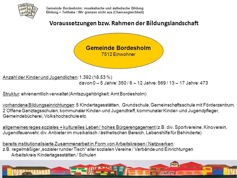 Voraussetzungen bzw. Rahmen der Bildungslandschaft Gemeinde Bordesholm: musikalische und ästhetische Bildung Bildung = Teilhabe : Wir grenzen nicht au