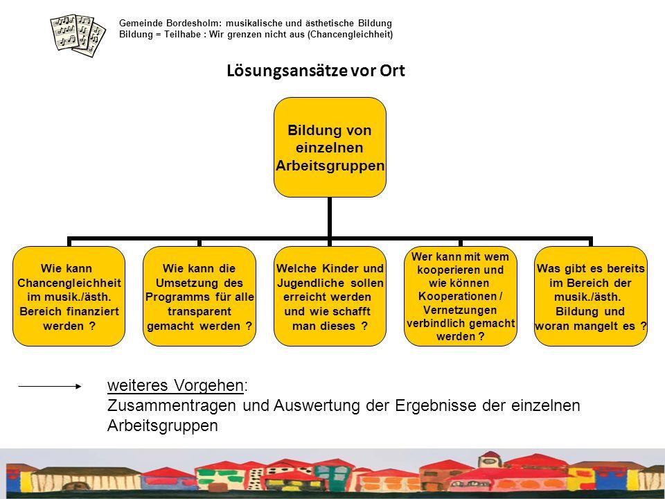 Lösungsansätze vor Ort Gemeinde Bordesholm: musikalische und ästhetische Bildung Bildung = Teilhabe : Wir grenzen nicht aus (Chancengleichheit) Bildun