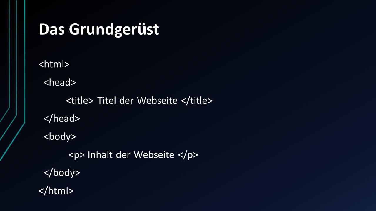 Das Grundgerüst Titel der Webseite Inhalt der Webseite