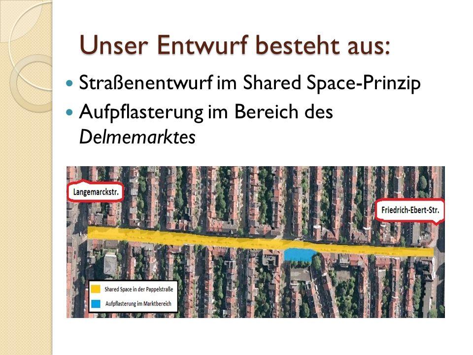 Unser Entwurf besteht aus: Straßenentwurf im Shared Space-Prinzip Aufpflasterung im Bereich des Delmemarktes