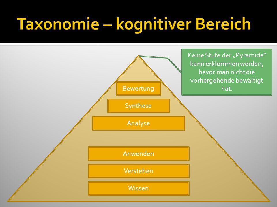 Bewertung Synthese Analyse Anwenden Verstehen Wissen Keine Stufe der Pyramide kann erklommen werden, bevor man nicht die vorhergehende bewältigt hat.