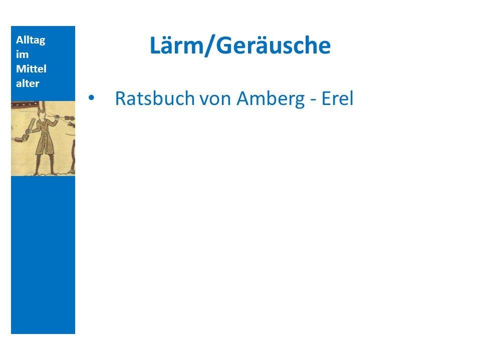 Alltag im Mittel alter Lärm/Geräusche Ratsbuch von Amberg - Erel