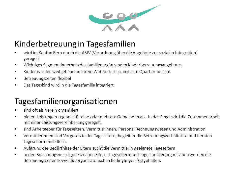 Die kantonale Dachorganisation Verband Bernischer Tageselternvereine VBT vertritt im Kanton Bern 33 Mitgliederorganisationen In den Mitgliederorganisationen des VBT werden pro Jahr 3800 Kinder während 1500000 Stunden betreut von 1400 Tageseltern