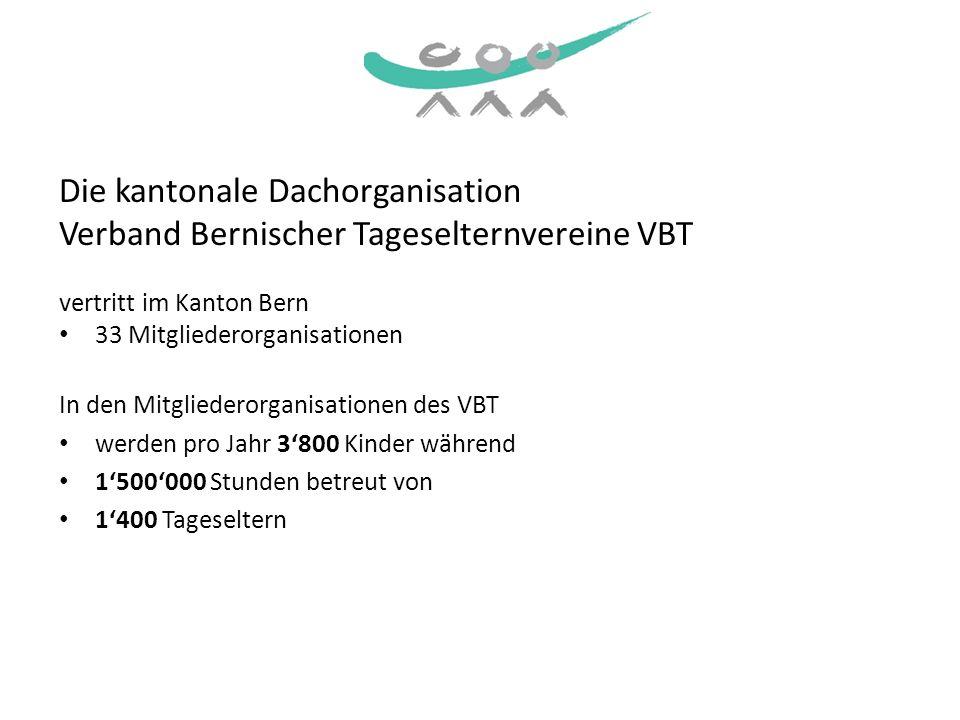 Die kantonale Dachorganisation Verband Bernischer Tageselternvereine VBT vertritt im Kanton Bern 33 Mitgliederorganisationen In den Mitgliederorganisa