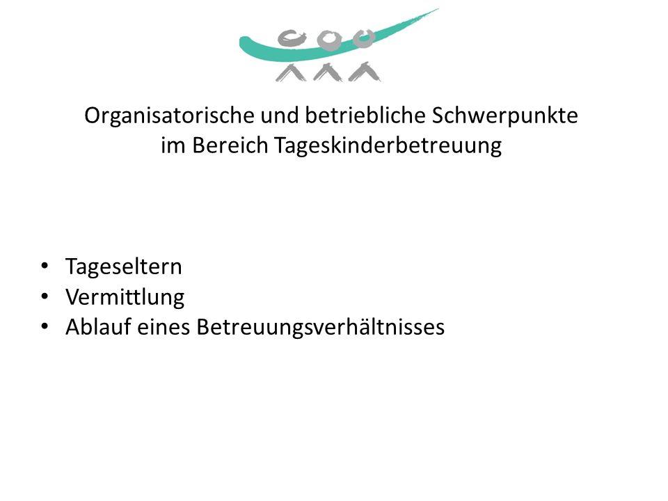 Organisatorische und betriebliche Schwerpunkte im Bereich Tageskinderbetreuung Tageseltern Vermittlung Ablauf eines Betreuungsverhältnisses