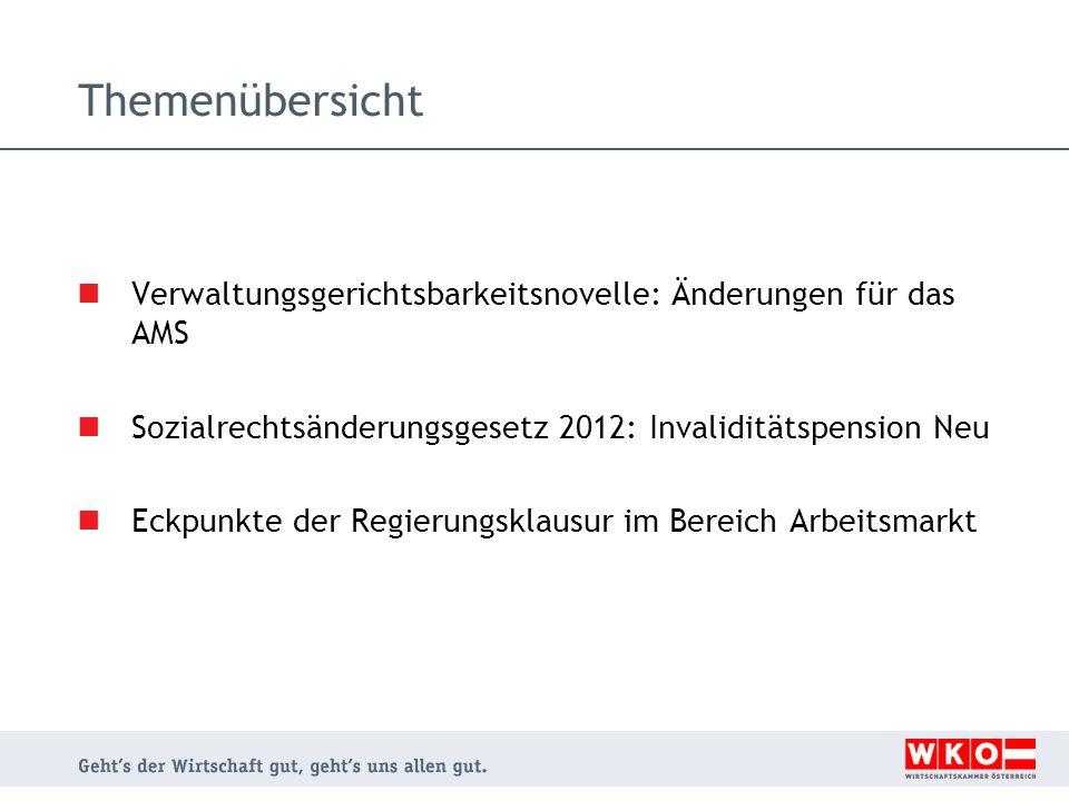 Themenübersicht Verwaltungsgerichtsbarkeitsnovelle: Änderungen für das AMS Sozialrechtsänderungsgesetz 2012: Invaliditätspension Neu Eckpunkte der Reg