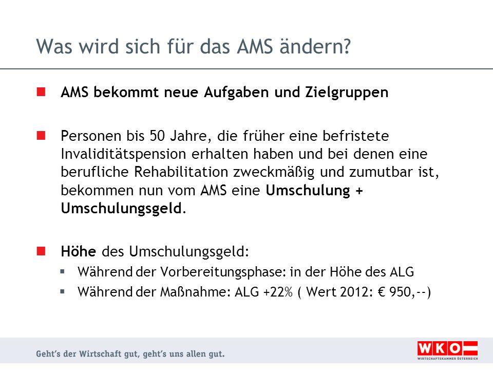 Was wird sich für das AMS ändern? AMS bekommt neue Aufgaben und Zielgruppen Personen bis 50 Jahre, die früher eine befristete Invaliditätspension erha