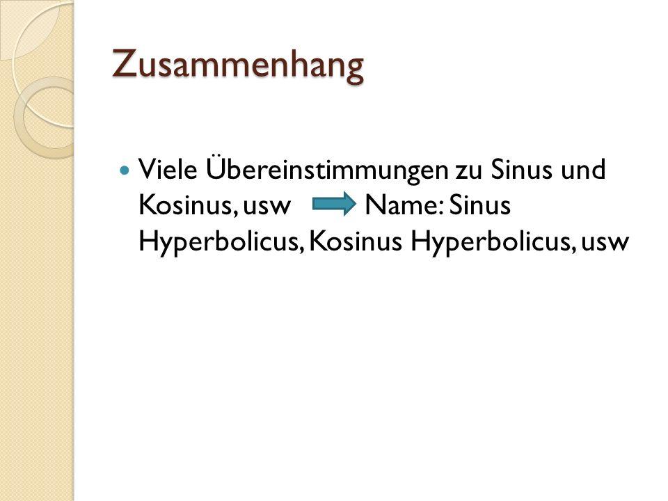 Zusammenhang Viele Übereinstimmungen zu Sinus und Kosinus, usw Name: Sinus Hyperbolicus, Kosinus Hyperbolicus, usw