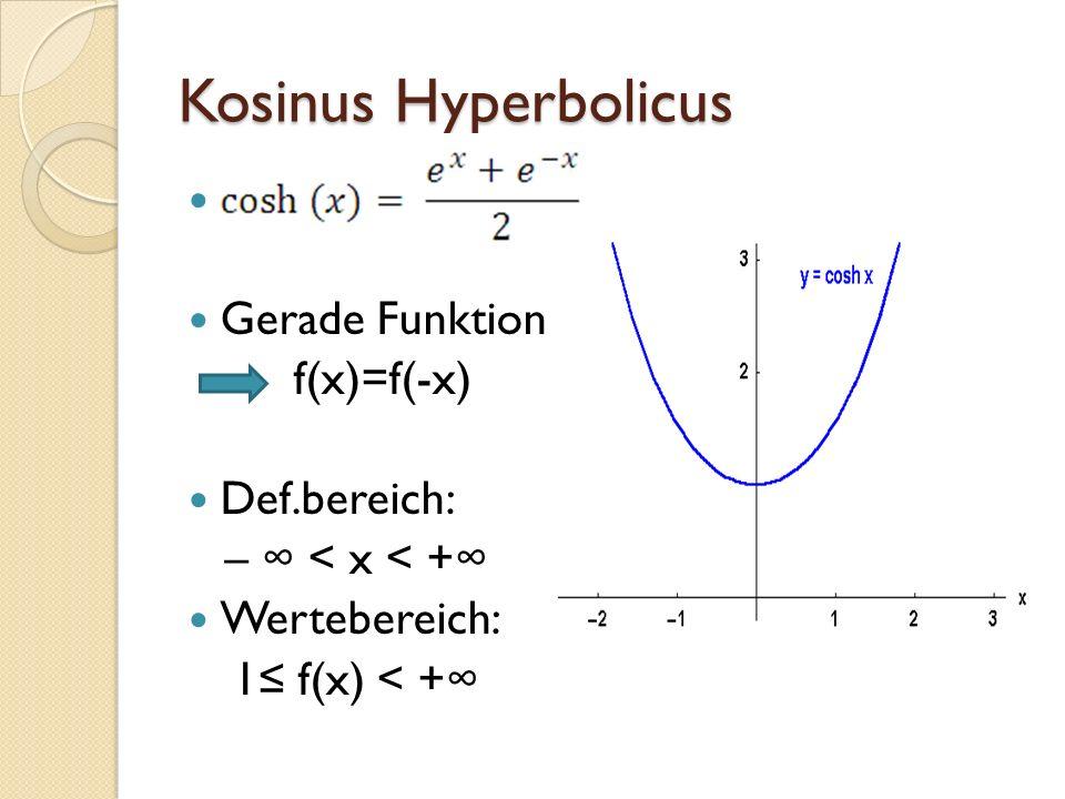 Sinus Hyperbolicus Ungerade Funktion f(x)=-f(-x) Def.bereich: – < x < + Wertebereich: – < f(x) < +