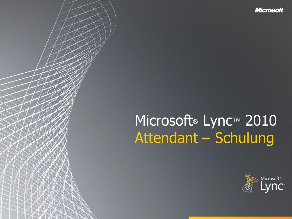 Zielsetzungen In diesem Schulungskurs werden die folgenden Funktionen von Microsoft Lync 2010 Attendant vorgestellt: Verwenden der Kontaktliste Wissenswertes zur Anrufsteuerung Tätigen und Annehmen von Anrufen Verwalten mehrerer Unterhaltungen Einrichten von Teamanrufgruppen Parken und Heranholen von Anrufen