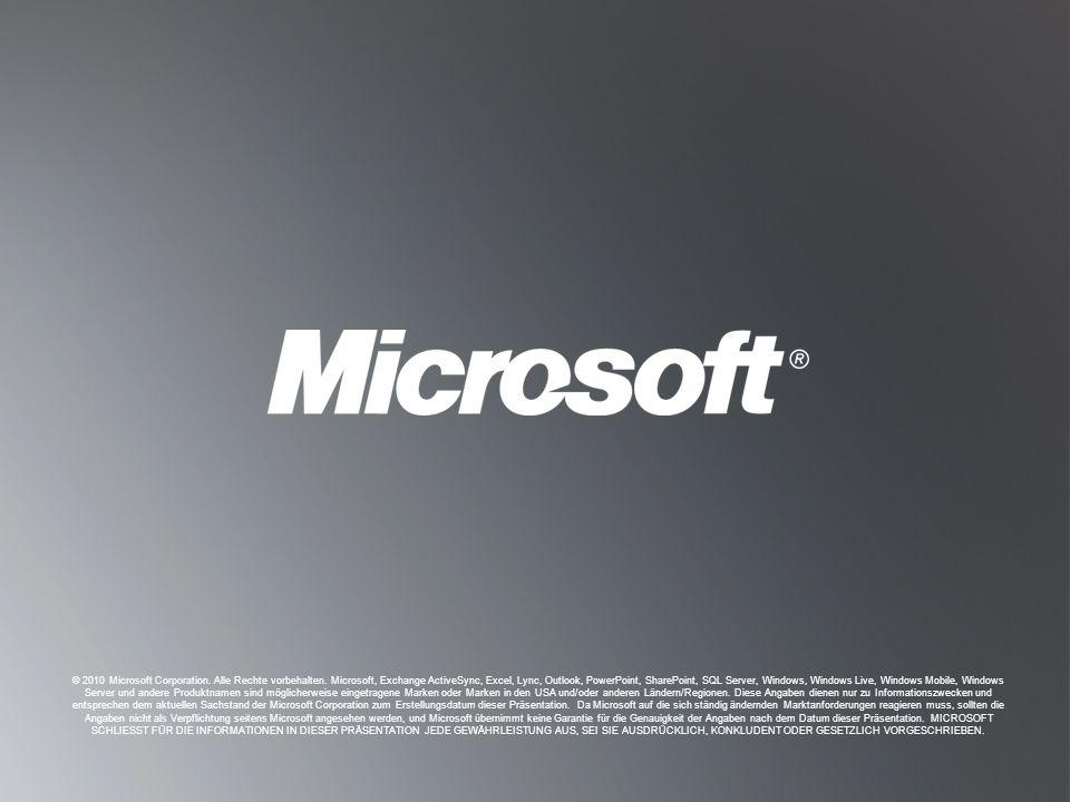 Z URÜCK ZU Z IELSETZUNGEN Z URÜCK ZU Z IELSETZUNGEN © 2010 Microsoft Corporation. Alle Rechte vorbehalten. Microsoft, Exchange ActiveSync, Excel, Lync