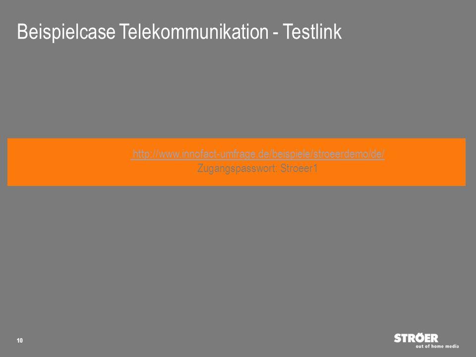 10 http://www.innofact-umfrage.de/beispiele/stroeerdemo/de/ Zugangspasswort: Stroeer1 Beispielcase Telekommunikation - Testlink