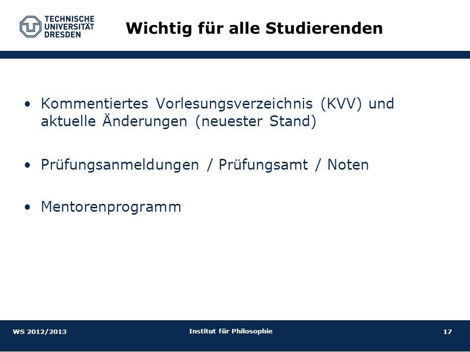 17 Institut für Philosophie Kommentiertes Vorlesungsverzeichnis (KVV) und aktuelle Änderungen (neuester Stand) Prüfungsanmeldungen / Prüfungsamt / Not