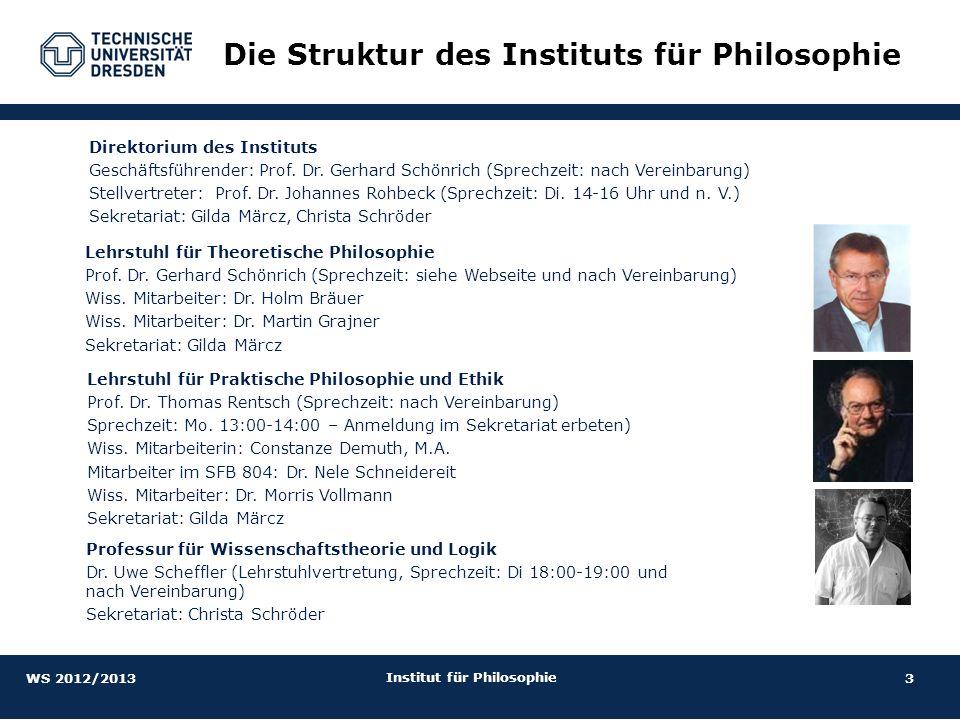 3 Institut für Philosophie Direktorium des Instituts Geschäftsführender: Prof. Dr. Gerhard Schönrich (Sprechzeit: nach Vereinbarung) Stellvertreter: P