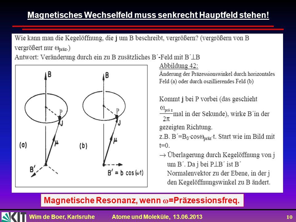 Wim de Boer, Karlsruhe Atome und Moleküle, 13.06.2013 10 Magnetisches Wechselfeld muss senkrecht Hauptfeld stehen! Magnetische Resonanz, wenn =Präzess