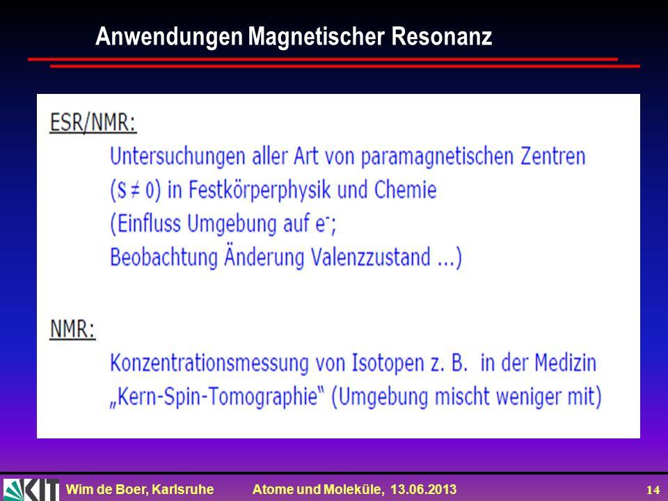 Wim de Boer, Karlsruhe Atome und Moleküle, 13.06.2013 14 Anwendungen Magnetischer Resonanz