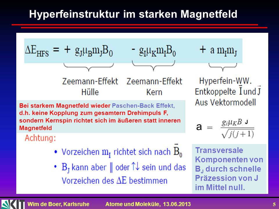 Wim de Boer, Karlsruhe Atome und Moleküle, 13.06.2013 6 Kernspinresonanz Beobachte Spin-Flip Übergänge zwischen Zeeman-Niveaus eines Kerns durch Einstrahlung mit Photonen, d.h.
