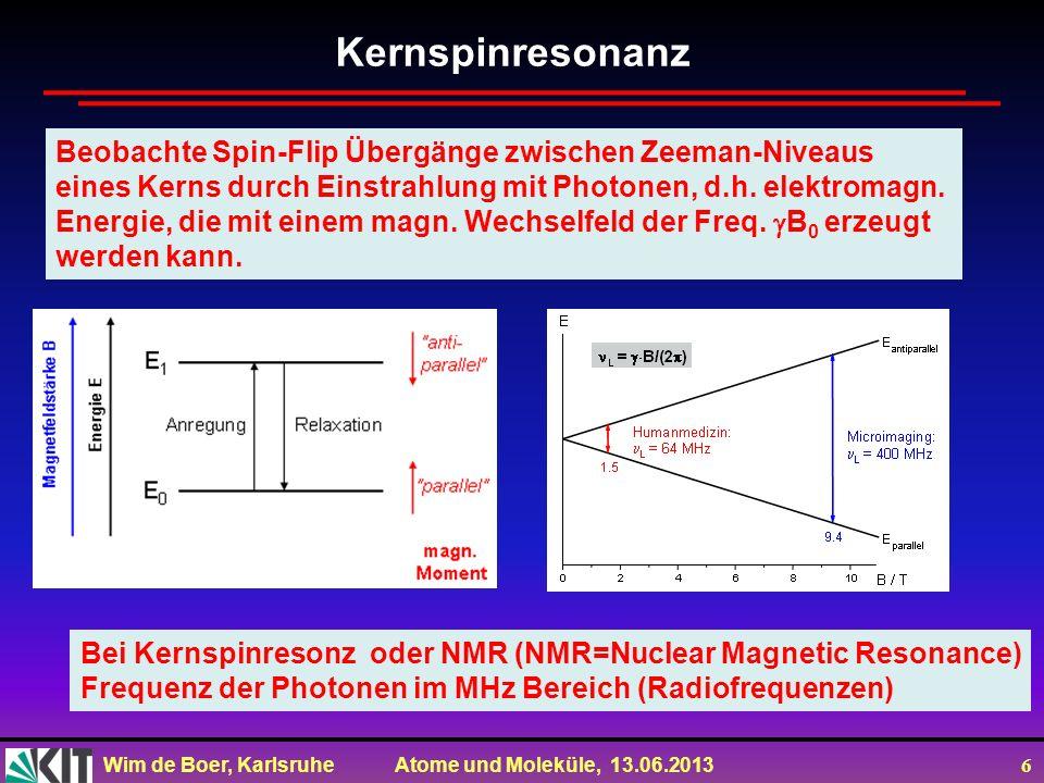 Wim de Boer, Karlsruhe Atome und Moleküle, 13.06.2013 6 Kernspinresonanz Beobachte Spin-Flip Übergänge zwischen Zeeman-Niveaus eines Kerns durch Einst