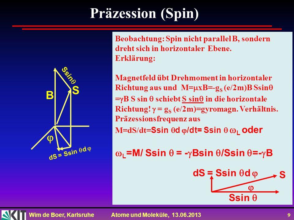 Wim de Boer, Karlsruhe Atome und Moleküle, 13.06.2013 9 Präzession (Spin) Beobachtung: Spin nicht parallel B, sondern dreht sich in horizontaler Ebene