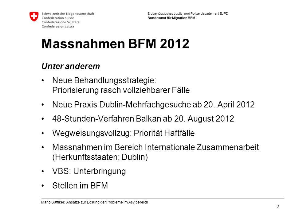 Eidgenössisches Justiz- und Polizeidepartement EJPD Bundesamt für Migration BFM Massnahmen BFM 2012 Unter anderem Neue Behandlungsstrategie: Priorisie
