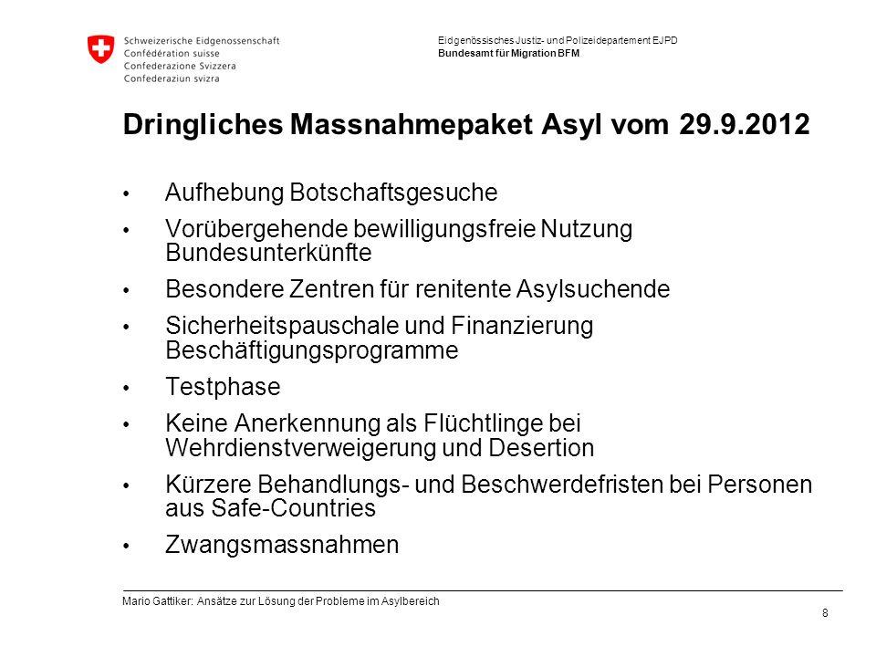 Eidgenössisches Justiz- und Polizeidepartement EJPD Bundesamt für Migration BFM Dringliches Massnahmepaket Asyl vom 29.9.2012 Aufhebung Botschaftsgesu