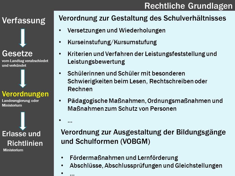 Verordnung zur Gestaltung des Schulverhältnisses Versetzungen und Wiederholungen Kurseinstufung/Kursumstufung Kriterien und Verfahren der Leistungsfes