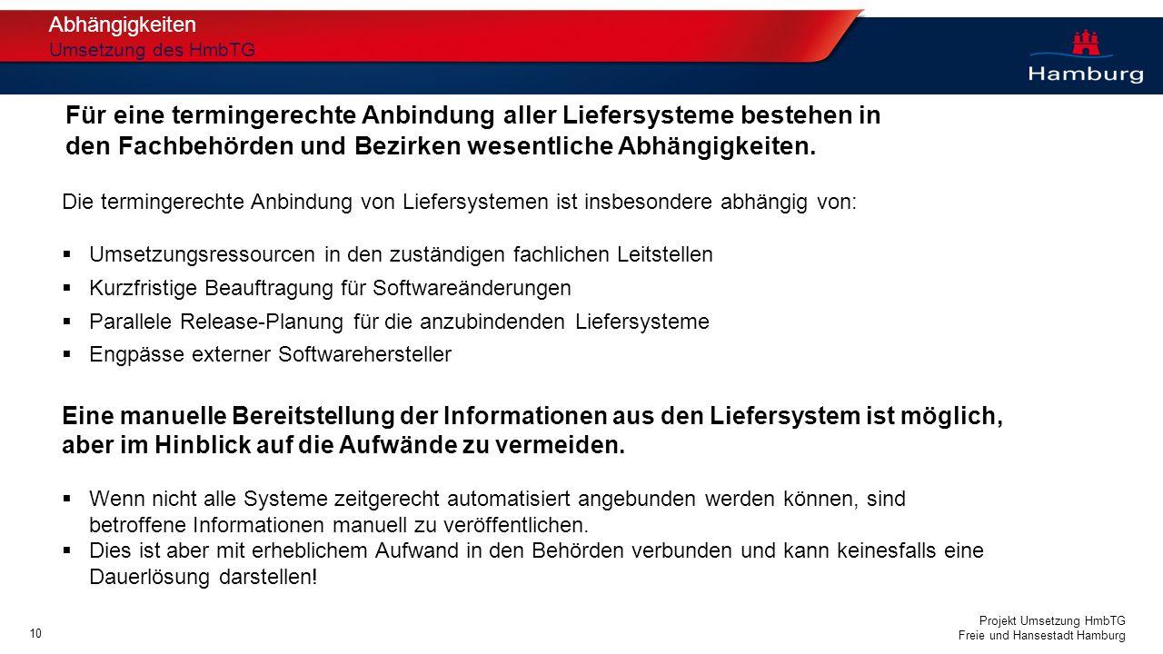 Projekt Umsetzung HmbTG Freie und Hansestadt Hamburg Abhängigkeiten Umsetzung des HmbTG Die termingerechte Anbindung von Liefersystemen ist insbesonde