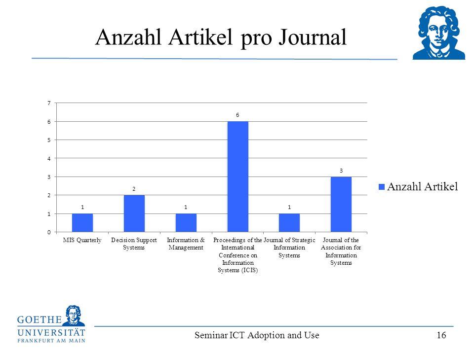Seminar ICT Adoption and Use 16 Anzahl Artikel pro Journal
