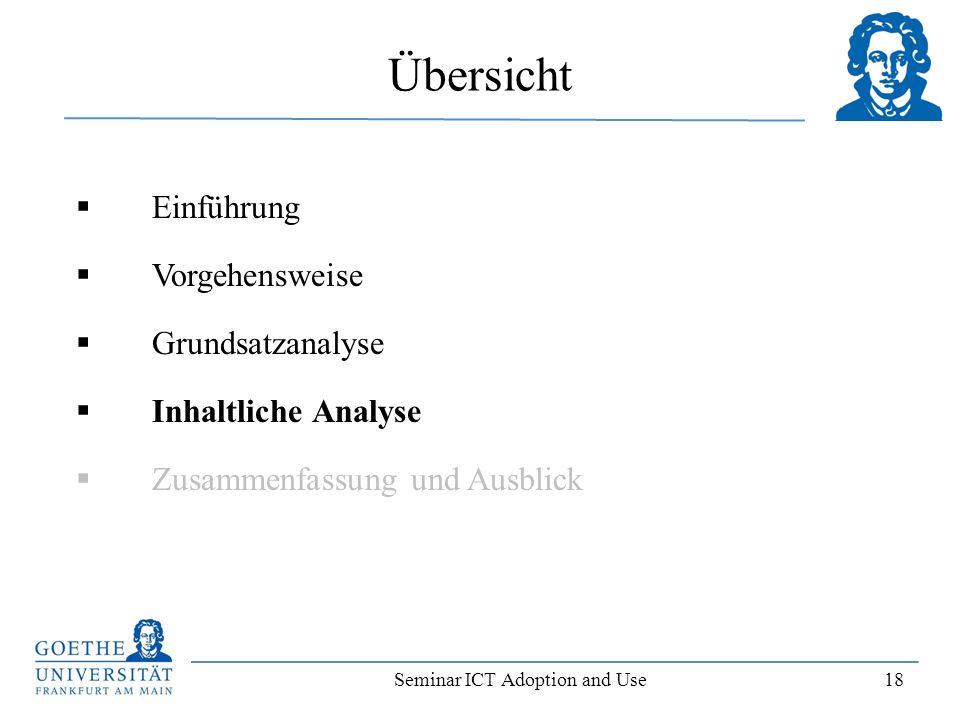 Seminar ICT Adoption and Use 18 Einführung Vorgehensweise Grundsatzanalyse Inhaltliche Analyse Zusammenfassung und Ausblick Übersicht