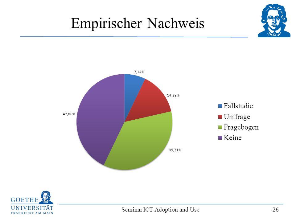 Seminar ICT Adoption and Use 26 Empirischer Nachweis