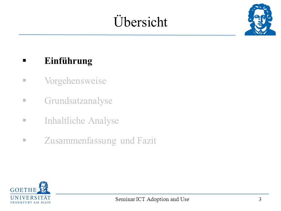 Seminar ICT Adoption and Use 14 Einordnung der Titel auf einem Zeitstrahl