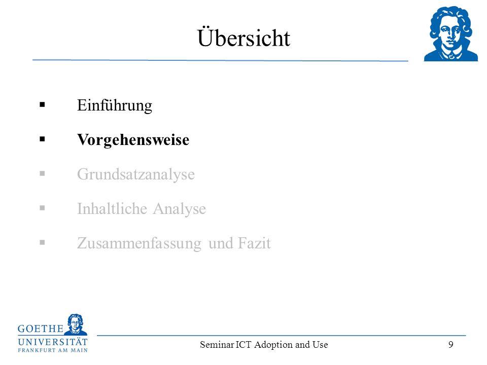 Seminar ICT Adoption and Use 10 Vorgehensweise der Literaturrecherche