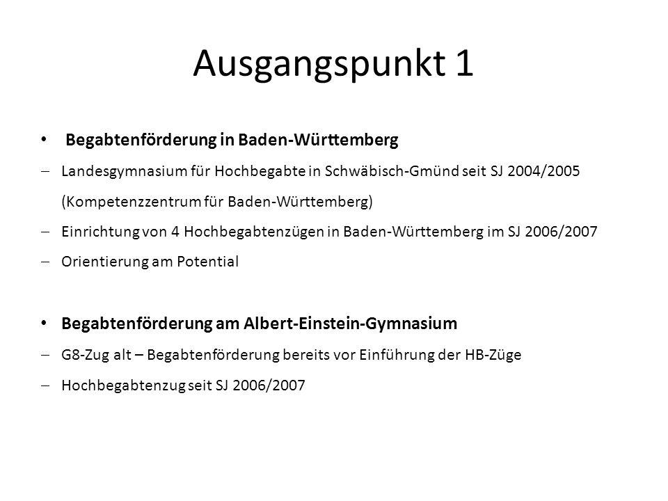 Ausgangspunkt 1 Begabtenförderung in Baden-Württemberg Landesgymnasium für Hochbegabte in Schwäbisch-Gmünd seit SJ 2004/2005 (Kompetenzzentrum für Bad
