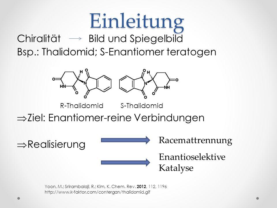Einleitung Chiralität Bild und Spiegelbild Bsp.: Thalidomid; S-Enantiomer teratogen R-Thalidomid S-Thalidomid Ziel: Enantiomer-reine Verbindungen Real