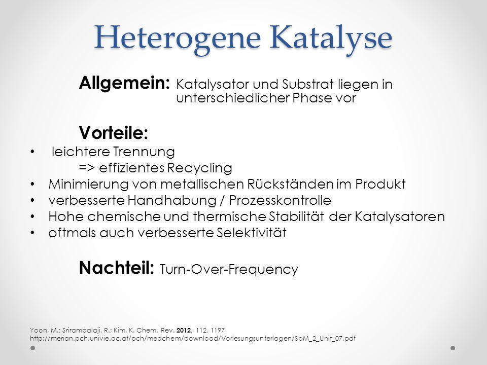 Heterogene Katalyse Allgemein: Katalysator und Substrat liegen in unterschiedlicher Phase vor Vorteile: leichtere Trennung => effizientes Recycling Mi