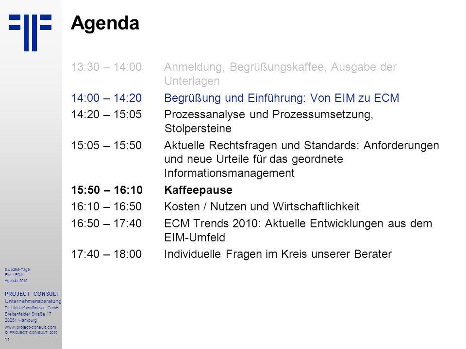 11 Agenda 13:30 – 14:00Anmeldung, Begrüßungskaffee, Ausgabe der Unterlagen 14:00 – 14:20 Begrüßung und Einführung: Von EIM zu ECM 14:20 – 15:05Prozess