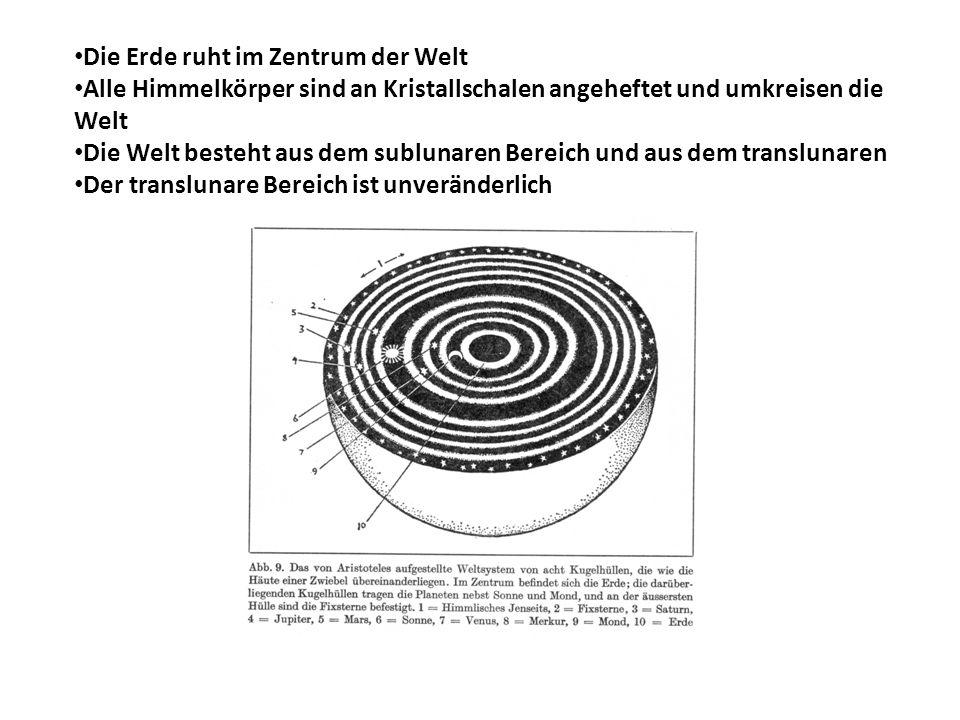 Die Erde ruht im Zentrum der Welt Alle Himmelkörper sind an Kristallschalen angeheftet und umkreisen die Welt Die Welt besteht aus dem sublunaren Bere