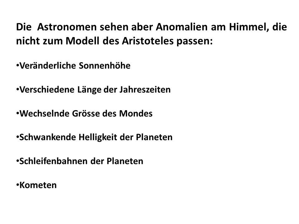 Die Astronomen sehen aber Anomalien am Himmel, die nicht zum Modell des Aristoteles passen: Veränderliche Sonnenhöhe Verschiedene Länge der Jahreszeit
