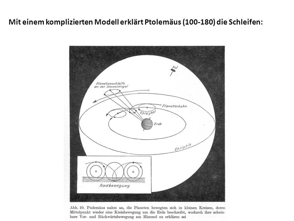 Mit einem komplizierten Modell erklärt Ptolemäus (100-180) die Schleifen: