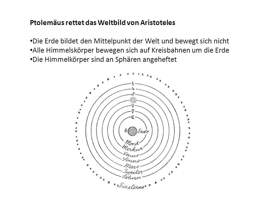 Ptolemäus rettet das Weltbild von Aristoteles Die Erde bildet den Mittelpunkt der Welt und bewegt sich nicht Alle Himmelskörper bewegen sich auf Kreis