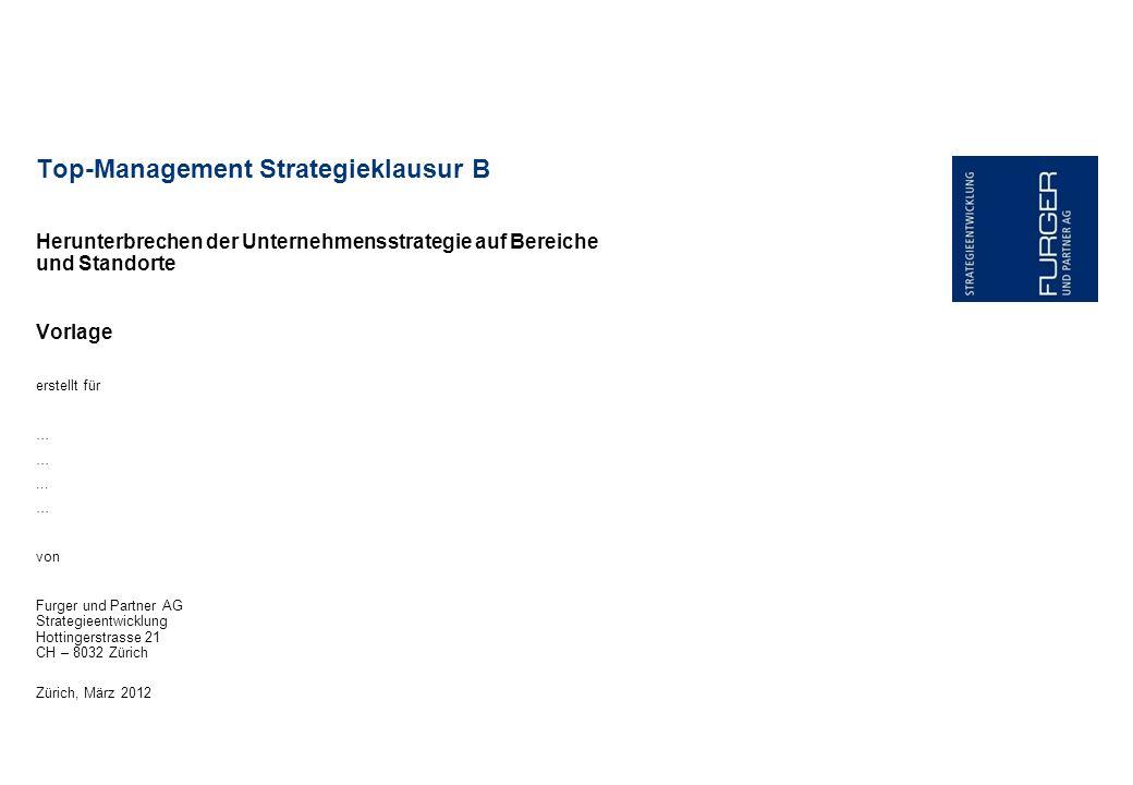 Herunterbrechen der Unternehmensstrategie auf Bereiche und Standorte Vorlage Top-Management Strategieklausur B erstellt für …... … von Furger und Part