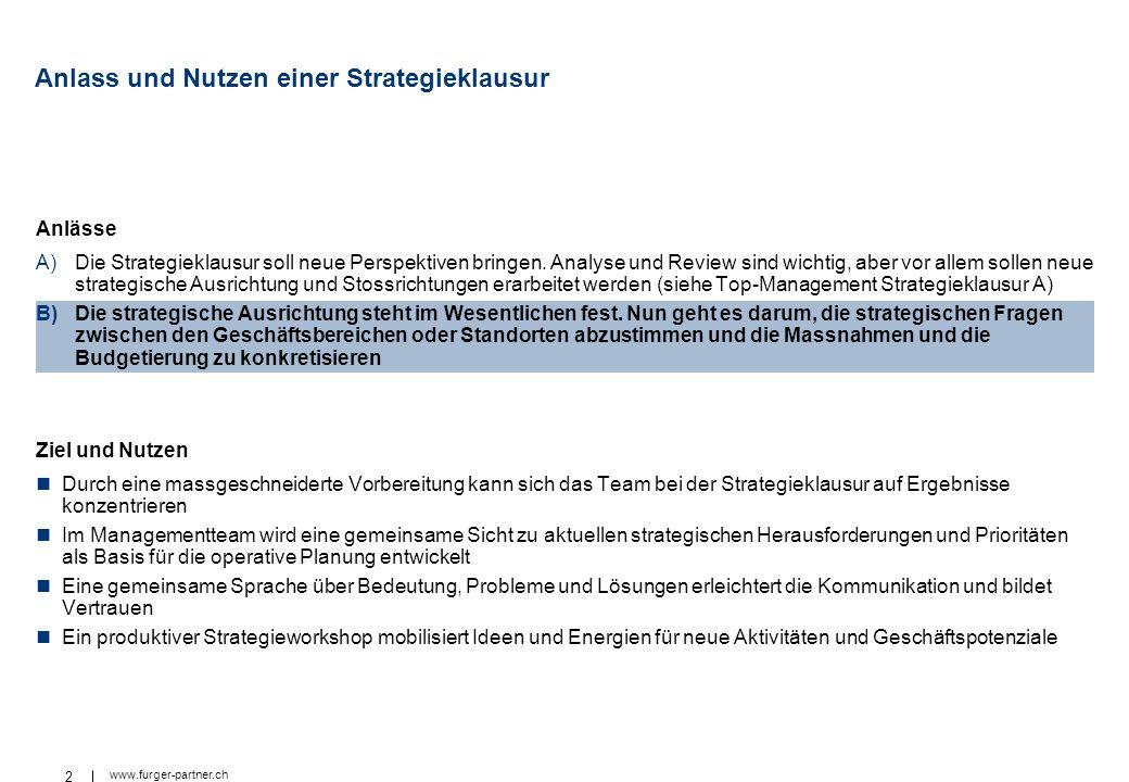 2 www.furger-partner.ch Anlass und Nutzen einer Strategieklausur Anlässe A)Die Strategieklausur soll neue Perspektiven bringen. Analyse und Review sin