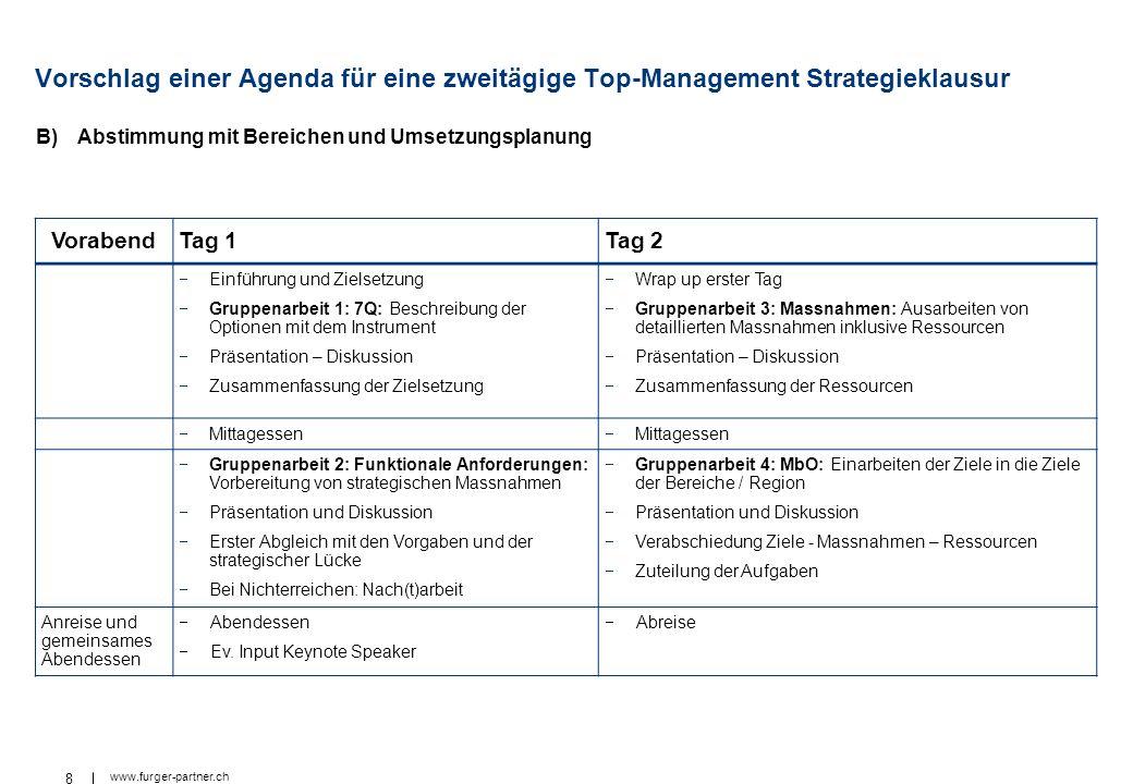 8 www.furger-partner.ch Vorschlag einer Agenda für eine zweitägige Top-Management Strategieklausur B)Abstimmung mit Bereichen und Umsetzungsplanung Vo