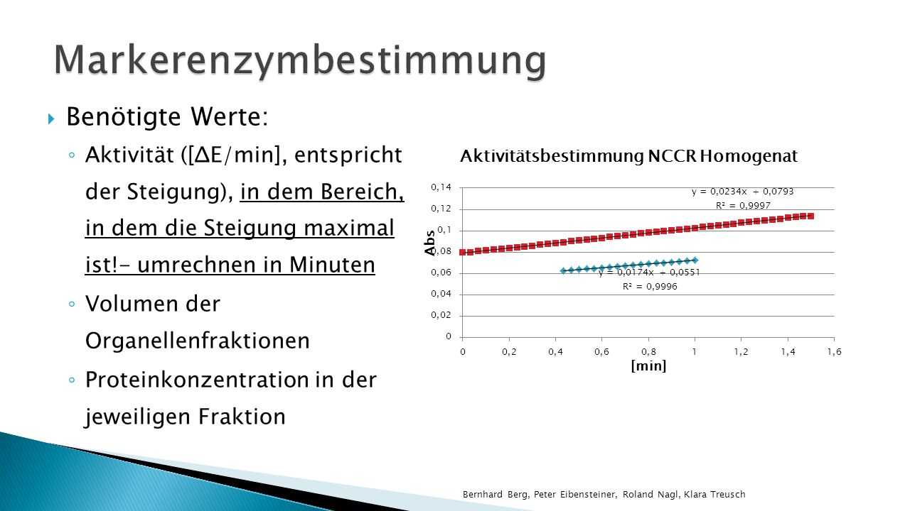 Benötigte Werte: Aktivität ([ΔE/min], entspricht der Steigung), in dem Bereich, in dem die Steigung maximal ist!- umrechnen in Minuten Volumen der Organellenfraktionen Proteinkonzentration in der jeweiligen Fraktion Bernhard Berg, Peter Eibensteiner, Roland Nagl, Klara Treusch