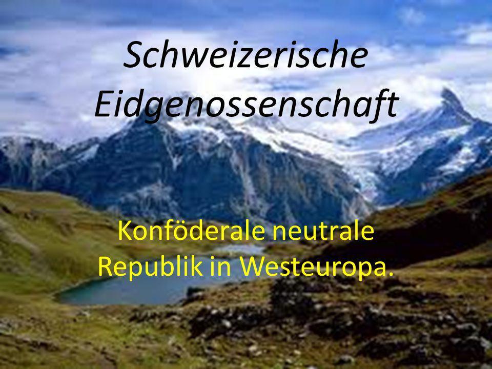 Bund besteht aus 23 Kantonen oder 20 Kantone und 6 napivkantoniv Aargau, Appenzell, Basel, Glarus, Bern, Valais, Vaud, Graubünden, Geneve, Solothurn, Luzern, Neuchatel, St.